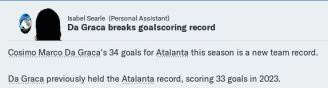 Da Graca another goals record
