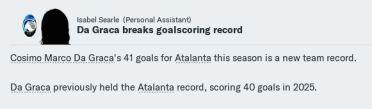Da Graca breaks Ata goalscoring record