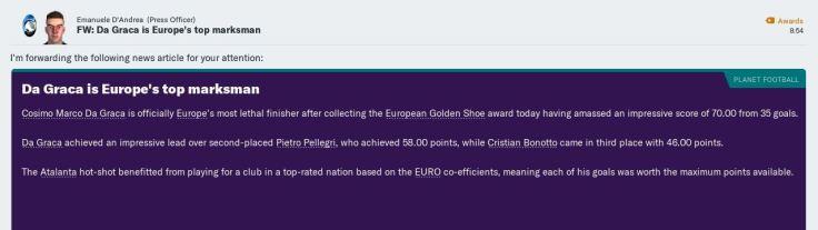 Da Graca top Euro scorer