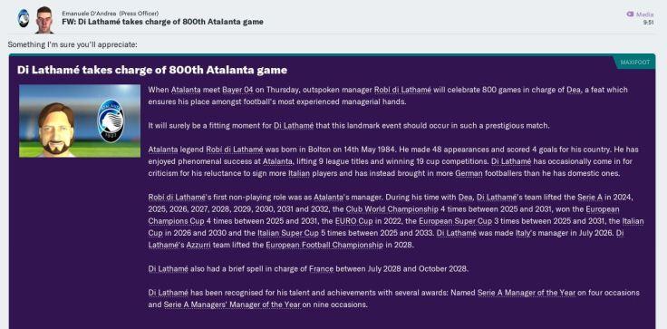 800 games for Atalanta March 2033