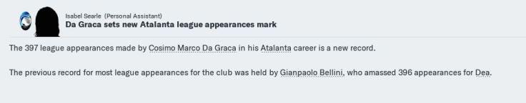 Da Graca breaks Ata league apps