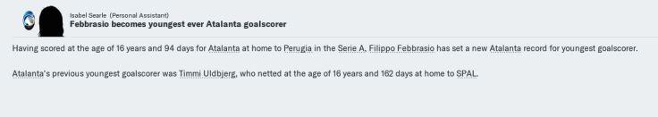 Febrassio youngest goalscorer