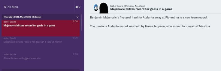 Majanovic record for goals in a game