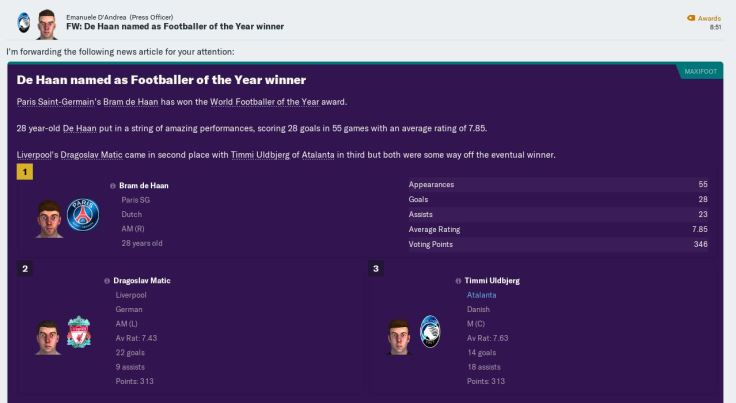 Ulbjerg 3rd footballer of the year