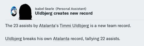 Uldbjerg assists record
