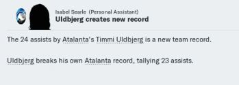 Uldbjerg breaks Ata assist record again