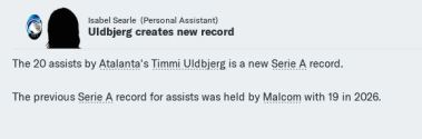 Uldbjerg Serie A assists record again