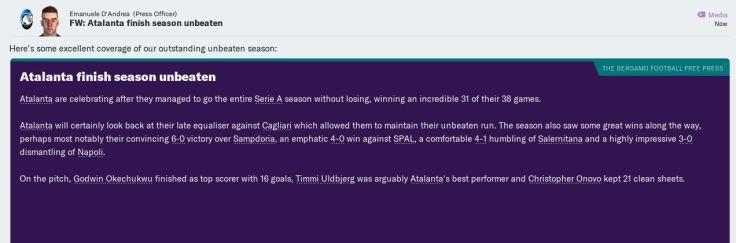 Unbeaten season
