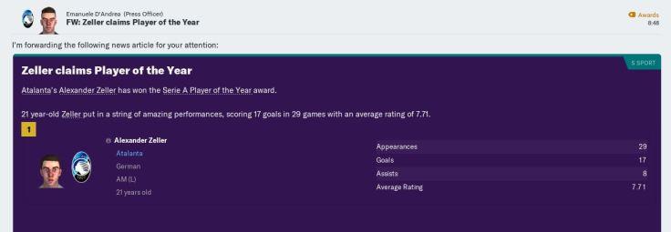 Zeller Serie A Player of Year