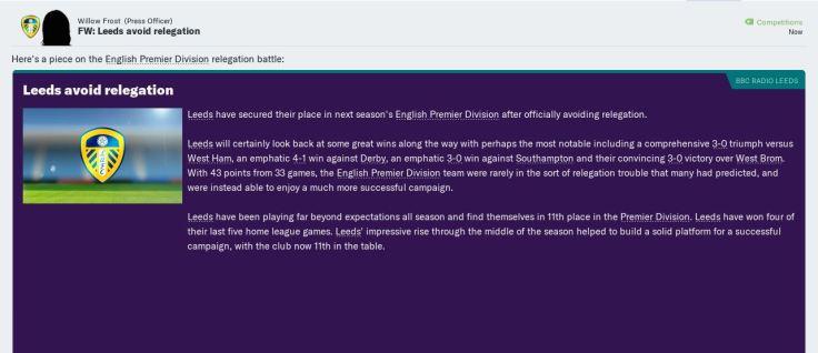 Avoided relegation!