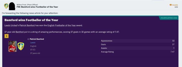 Bamford Football of Year