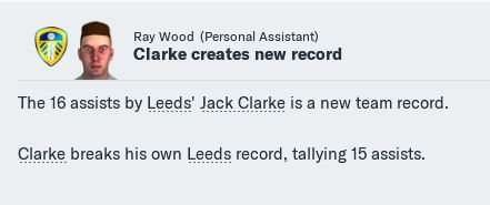 Clarke breaks assists record