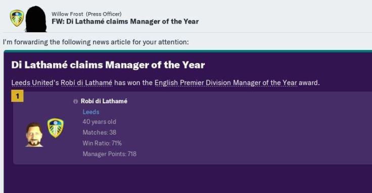 Manager of Year again