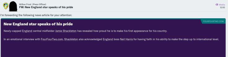 Shackleton plays for England