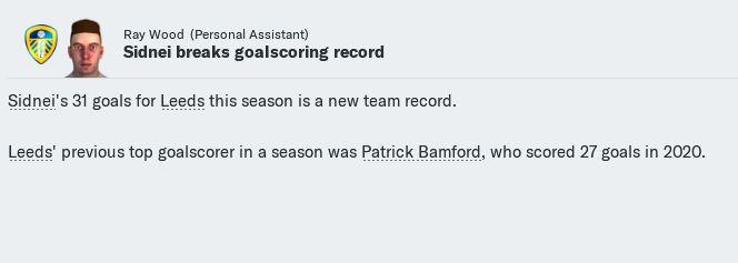 Sidnei Leeds goals record