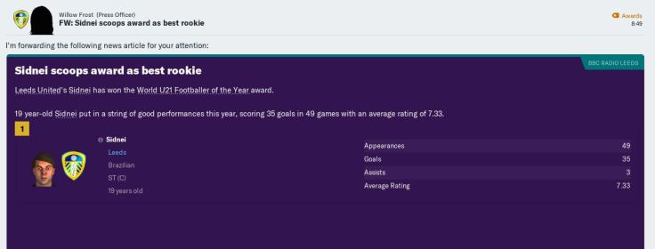 Sidnei World U21 Footballer of year