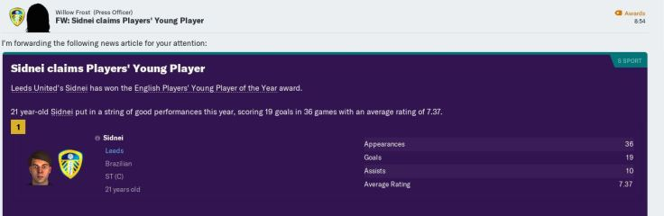 Sidnei young player of year