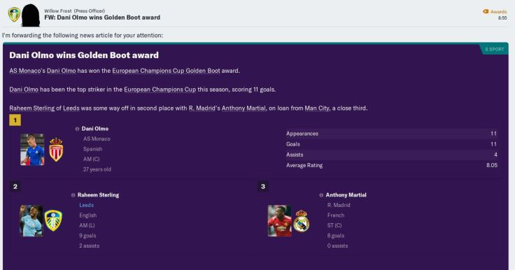 Sterling 2nd in Champs top scorer