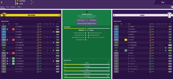 Watford 4-4 Leeds